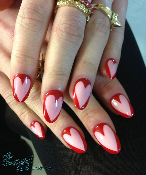 Love these pink/red heart nails!