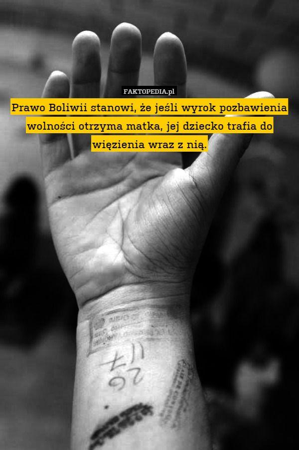 Prawo Boliwii stanowi, że jeśli wyrok pozbawienia wolności otrzyma matka, – Prawo Boliwii stanowi, że jeśli wyrok pozbawienia wolności otrzyma matka, jej dziecko trafia do więzienia wraz z nią.