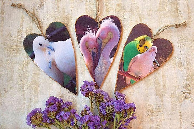 Herz Ornament Vögel Valentinstag Dekor Wand hängende Dekoration Hochzeit Bevorzugungen Hölzernes Herz Valentine Geschenk Herzverzierungen Paar Liebe Rustikal Set von 3 Vogelpaar