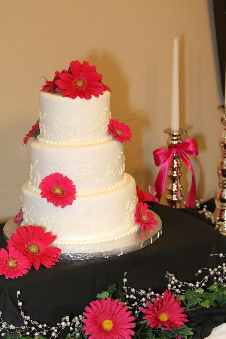 wedding cake pictures with gerbera daisies pink wedding cake blair s custom cakes 23449