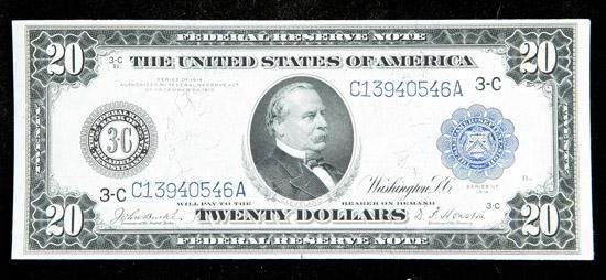 1914, $20 Federal Reserve Note. PCGS About New 53 A high-end Fed from the Phildelphia district, held back from a higher grade by a couple of light hidden folds. Estimated Value $150 - 200. #Banknotes #UnitedStates #MADonC