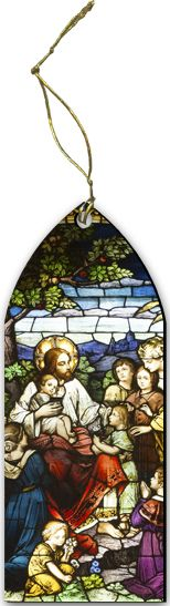Jesus with the Children Stained Glass Wood Ornament - Catholic to the Max - Online Catholic Store