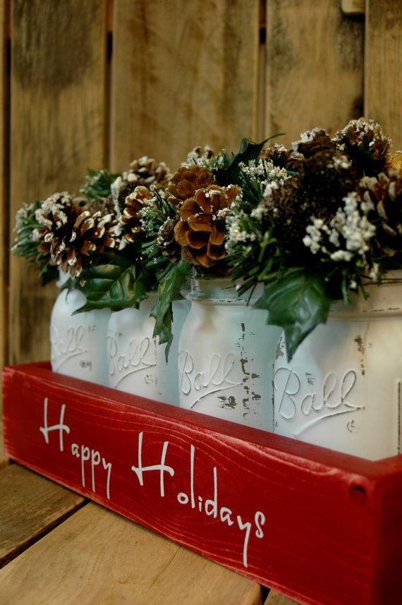Happy Holidays Mason jar box pint mason jars, Holiday Centerpiece, Christmas centerpiece, holiday jars, Christmas gift for Mom