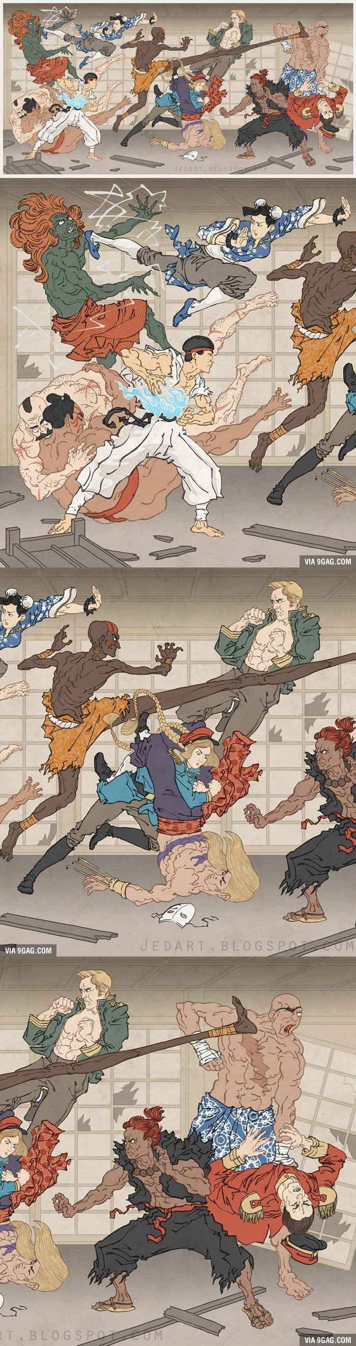 Street Fighter In Ukiyo-e Style (Traditional Japanese Style) By Jed Henry