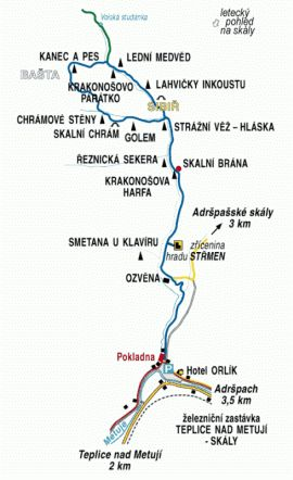Adršpach : Teplické skály : Prohlídková trasa Teplického skalního města, Hrad Střmen, Teplické ikony, Podsvětí – Sibiř, Dravci
