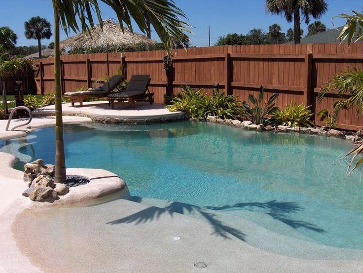 Tropical Pool, Beach Entry Swimming Pool Landscaping Network Calimesa, CA