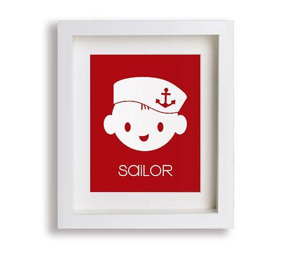 Sailor Przedszkole Reprodukcja - Nautical Przedszkole Decor, Nowoczesna Sztuka dla dzieci, pokój dziecięcy, sypialnia dla dzieci, Małe dziecko, chłopak, dziewczyna, grafika, Bawialnia