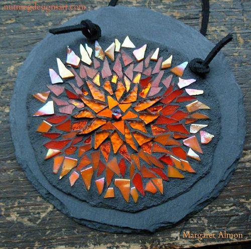 Orange Flower Mandala on Slate by Margaret Almon | Orange gl… | Flickr