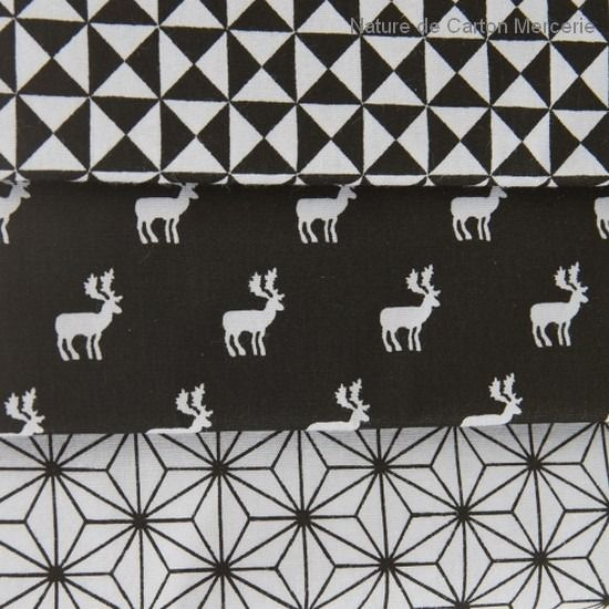 3 coupons de tissus de no l noir et blanc tissu imprim graphique tissus pour loisirs. Black Bedroom Furniture Sets. Home Design Ideas