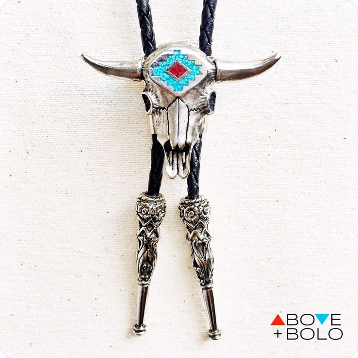 Southwestern BOLO TIE with Cow Skull and Genuine Turquoise - The 'Sacred Bull' Bolo Tie by AboveandBolo on Etsy https://www.etsy.com/listing/257202726/southwestern-bolo-tie-with-cow-skull-and