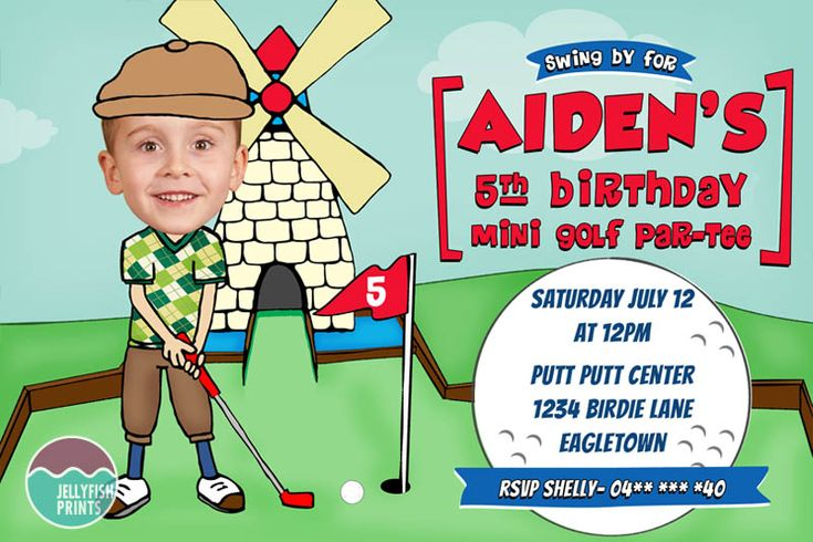 Customised Golf Party Invitation for a boy or girls Mini Putt Putt birthday party celebration.