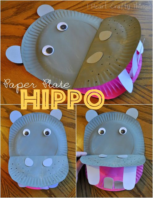 Paper Plate Hippopotamus--- You could also use large marshmallows for the teeth for a fun twist. www.iheartcraftythings.com