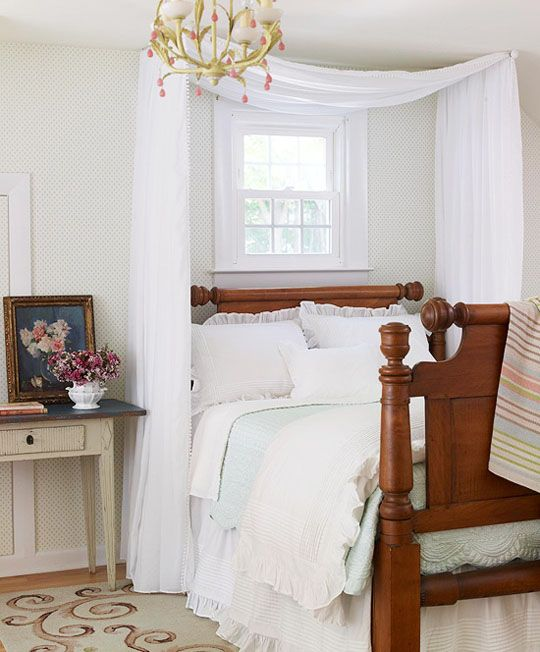 If a small bedroom is also the sensory room, the bed can give you an area with sensory-free options. Use two swing-arm curtain rods mounted on each side of the bed to create this effect. You can also mount one curtain rod in the center for a more tent-like effect. Consider thick black-out curtains for increased sensory buffering.