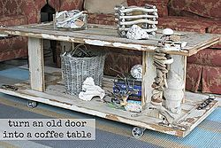 Use old doors to DIY a rustic and eclectic coffee table.