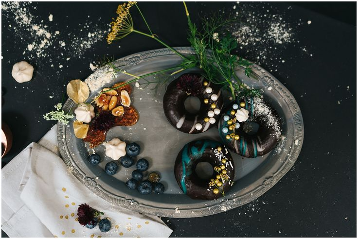 Dark chocolate ganache donuts with gilding by Jemima Cakes (shoot at The Whitespace, Alresford) - Angela Ward Brown Photography