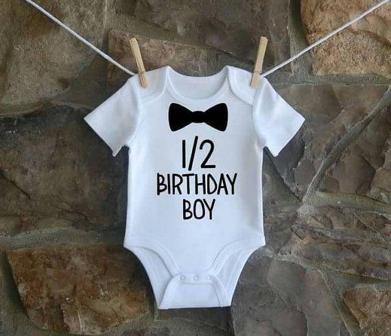 Half birthday boy onesie https://www.etsy.com/listing/288612587/boys-half-birthday-onesie-happy-6-months