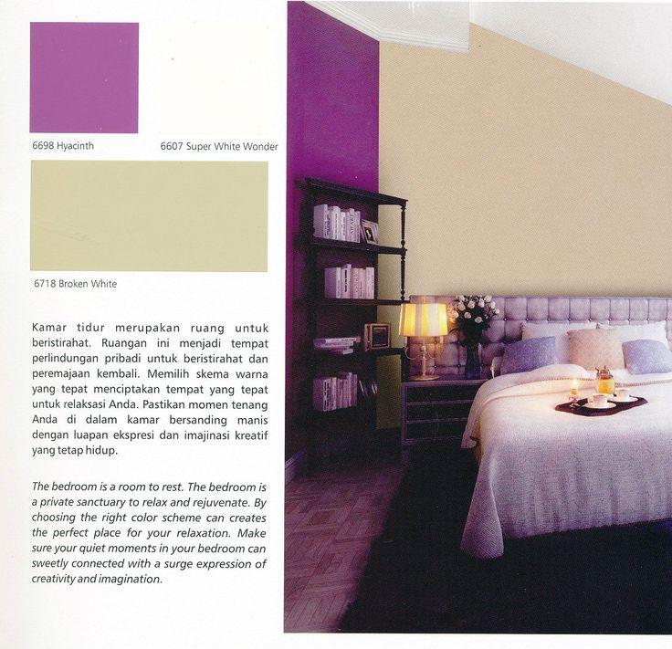 Pretty yet masculine bedroom interior design? Try combining Hyacinth & Broken White from SANLEX Wonder wall paint and greet your dream! #HiyotoIdea #homedesign #homedecor #housedesign #housedecor #bedroom #interiordesign