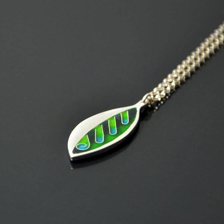 Green leaf cloisonne silver pendant by SamaiaJewellery on Etsy