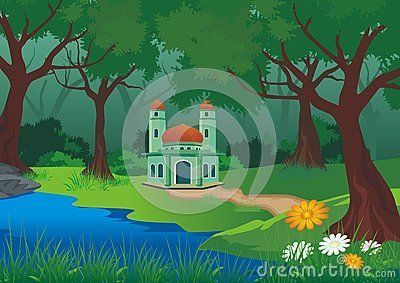 Mosque on the forest with beautiful natural scenery - cartoon design,  beautiful…
