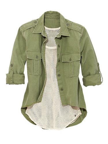 Walk on the Wild Side  Green shirt $79.50, mesh top $49.50, Denim & Supply Ralph Lauren; macys.com for stores.