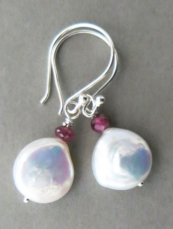 Handmade white coin pearl earrings,Iridescent white freshwater coin pearls just overflowing with lusterous nacre; faceted pink tourmaline beads; sterling silver earwires