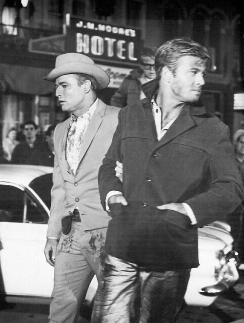 "Marlon Brando with Robert Redford in ""The Chase"""