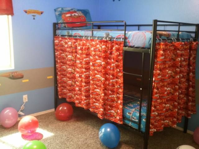 Cute fort idea for kids bunk bed. I used Cars fabric with shower hooks, but you can also use shower curtains and cut to size. Turned out pretty cute!