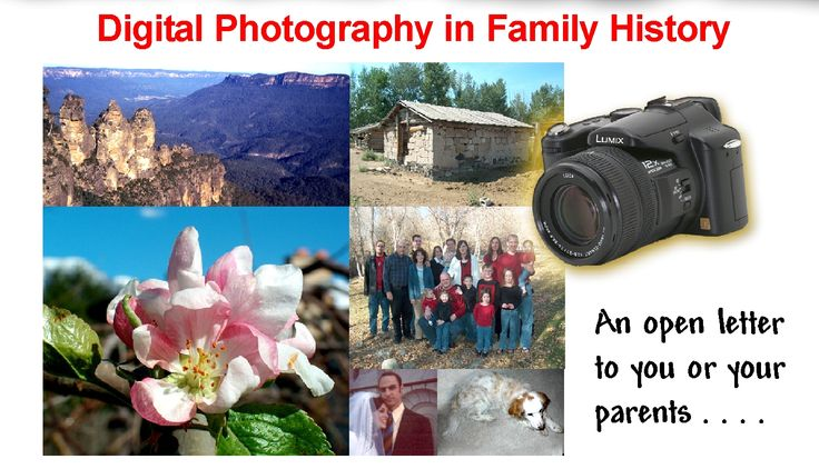 Digital Photography in Family History.  Someday the photos you have taken will become a significant part of your family history. Learn more about your camera, how to take better photos, and some of the new features in digital cameras. Click here to view the newsletter. http://www.heritagecollector.com/Newsletter/DigCam.pdf