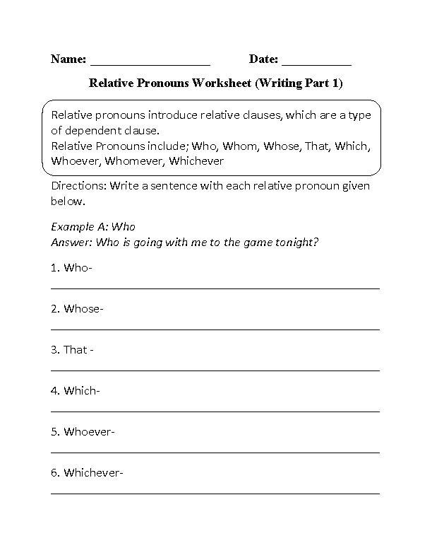 writing relative pronouns worksheet part 1 beginner worksheets pinterest pronoun. Black Bedroom Furniture Sets. Home Design Ideas