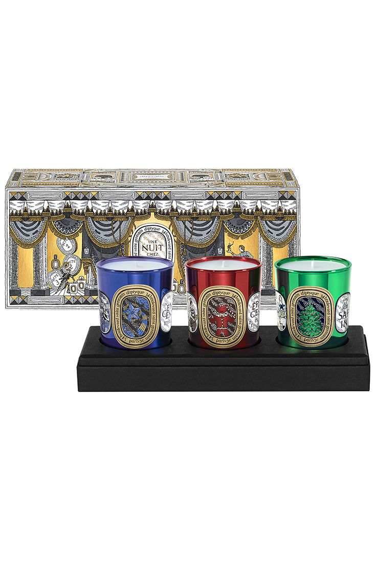 diptyque reignites the magic of the year-end holiday season with three new limited edition candles inspired by a marvelous winter tale in three acts.  Act 1, Sparkling Incense, a burst of dazzling elemi shines amidst mysterious swirls of incense.  Act 2, Delicious Spices, warm gingerbread notes mingle with tasty honey and star anise accents.  Act 3, The Festive Fire Tree, the incredible smell of a lush, pine-laden forest laced with the woody tones of patchouli.