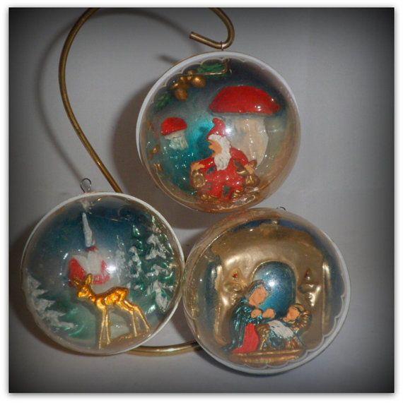 Vintage Christmas Diorama Plastic Ornaments Italy X 3