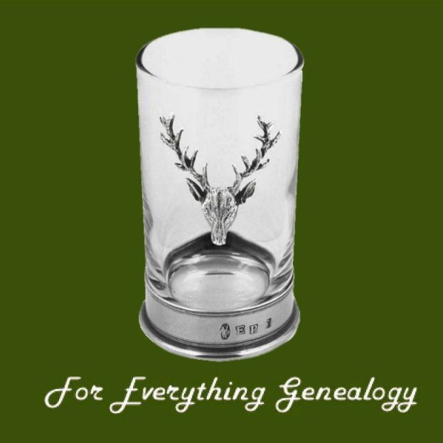 Proud Stag Themed 12cm Single Hiball Stylish Pewter Accent Spirit Glass