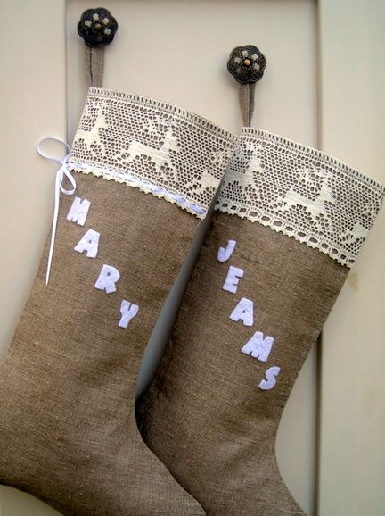 these unique burlap stockings are easy to trim with With felt letters for stockings