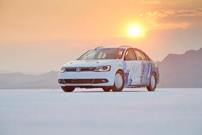 The 2013 Jetta Hybrid set a world record today for the fastest speed ever achieved by a production-based hybrid car at the Bonneville Salt Flats with a top speed of 185.394 mph.
