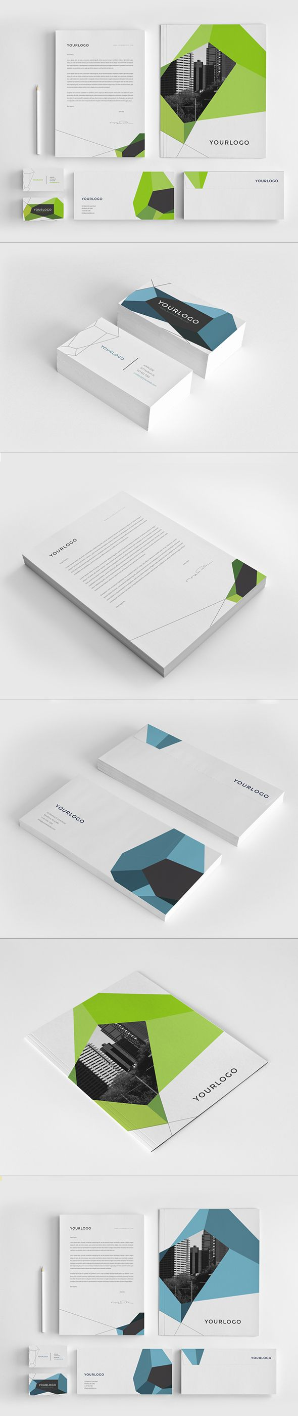 Modern Geometric Stationery Pack. Download here: http://graphicriver.net/item/modern-geometric-stationery-pack/7596186?ref=abradesign #design #stationery