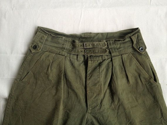 Vintage RARE 40s-60s British Army Gurkha Pants Trousers pleated indian canadian us army military og107 jungle green