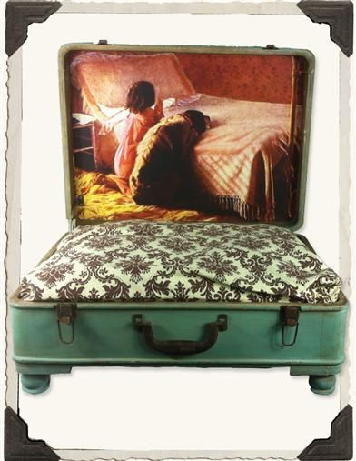 OLD SUITCASE DOG BED - what a great idea!