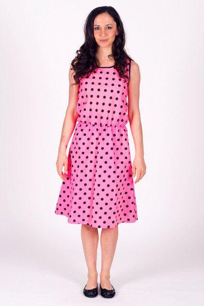 Spot Small Polka - Elastic Waist Sleeveless Dress Short