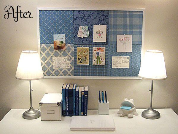 salvaged bulletin board=patchwork bulletin board