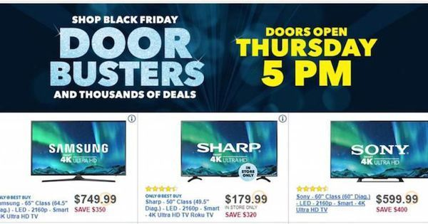 Best Buy's Biggest 'Black Friday' 2017 TV Deals: Huge Savings On Samsung, LG, Sony And More Note that Best Buy's stand-out Black Friday deals are reproduced below in alphabetical order rather than in order of biggest saving or quality of TV. Note also that BestBlackFriday.com may earn affiliate commissions from the product links in this article. #blackfriday