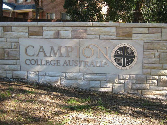 Campion College, Australia.Cut out lettering and badge