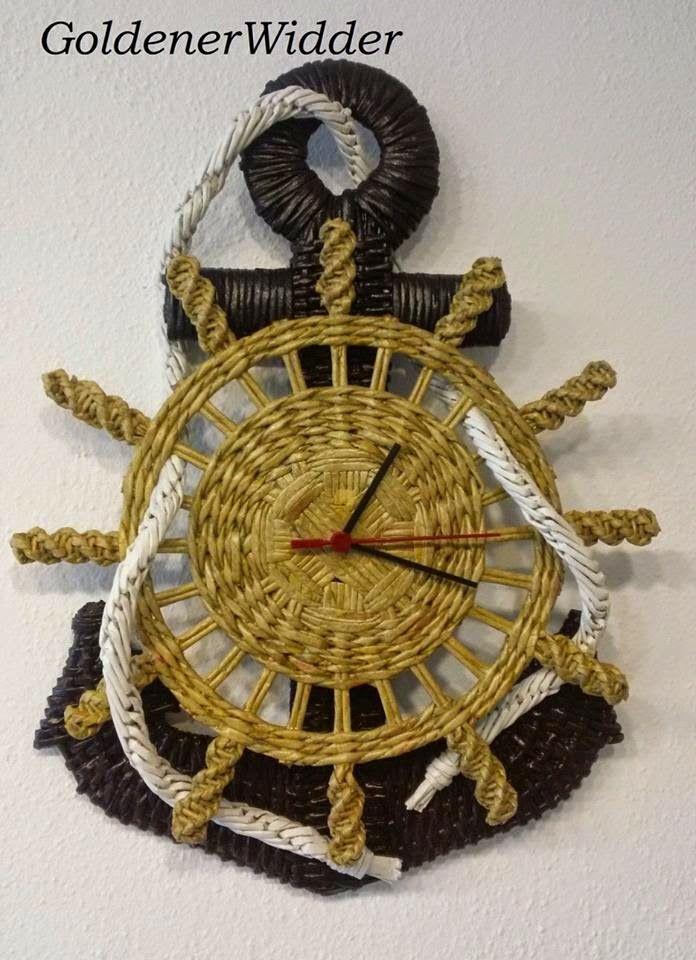 Плетение из газетных трубочек: Часы- якорь, идею взяла у Веры Потаевой, элементы ...