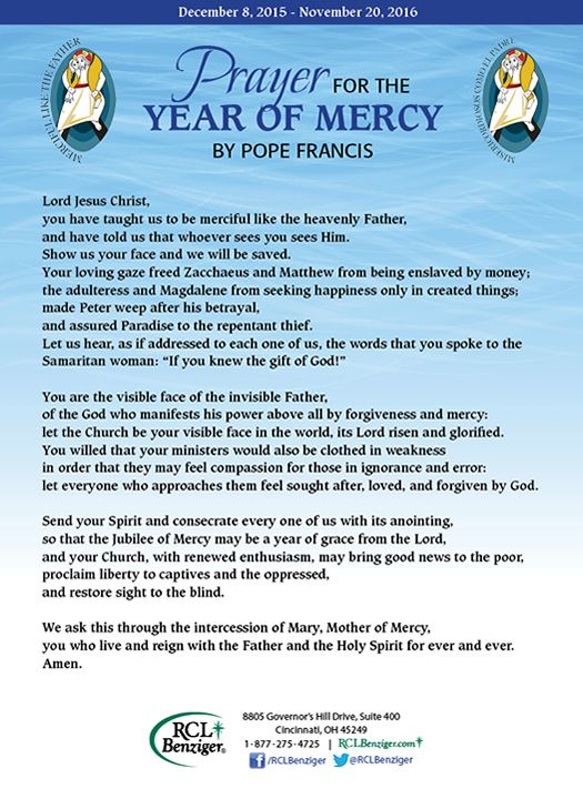 Jubilee Year of Mercy | RCL Benziger | Religious Education ...