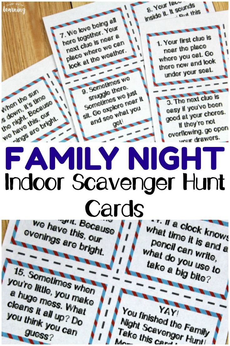 Printable Indoor Family Night Scavenger Hunt Cards Family Fun Night Family Games Indoor Scavenger Hunt For Kids