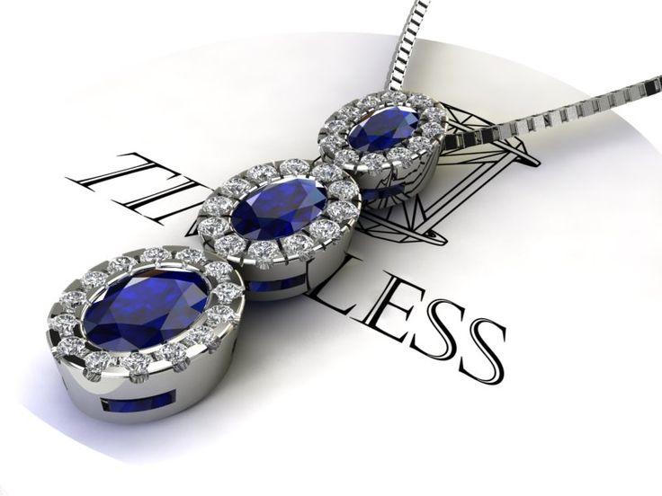 girocollo in oro bianco 750/1000 con zaffiri blu naturali e diamanti taglio brillante di contorno