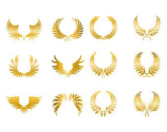 gold angel wings clip art