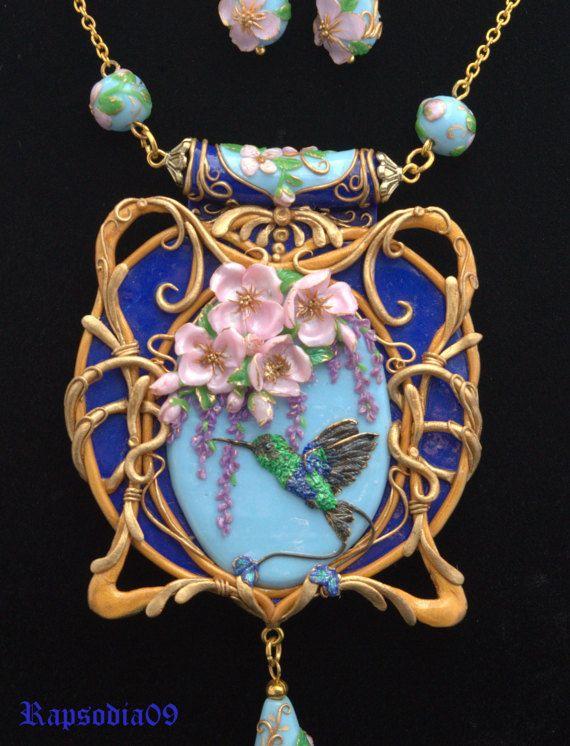 Jewelry Art Nouveau set Jewelry polymer clay set Jewelry necklace kolibri Blue gold jewelry Gift for her Statement jewelry set
