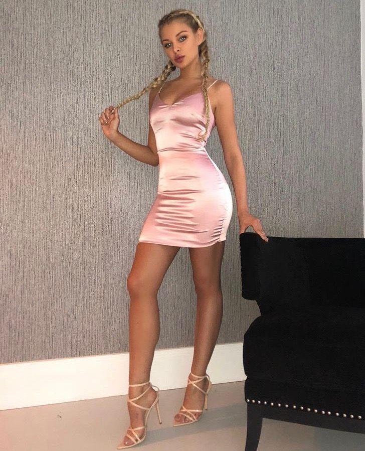 94167940666a1 Pink Satin Mini Dress With Diamante Straps in 2019 | Frankie | Satin ...