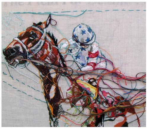 This is amazing!  It's embroidery!  It's like a painting with thread.  Wow.