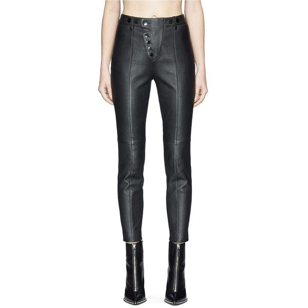 Alexander Wang High waist cropped leather leggings (€1.040) ❤ liked on Polyvore featuring pants, leggings, black, cropped leather leggings, high-waisted leather pants, high waisted pants, cropped pants and high waisted leather pants